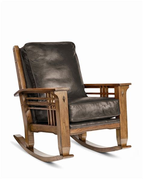 Wooden Rocking Chair With Leather Seat