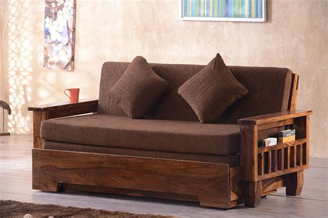 Wooden Sofa Come Bed Design With Storage