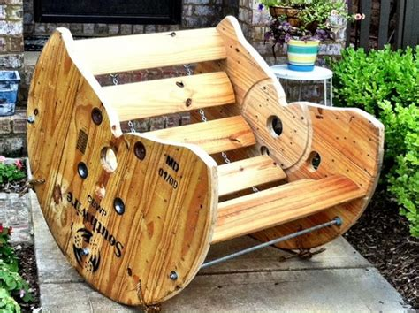 Wooden Spool Rocking Chair