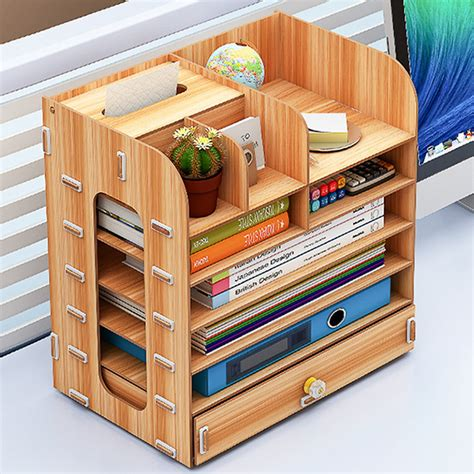 Wooden Storage Desk Organizer