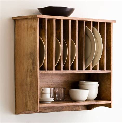 Wooden Wall Plate Rack Shelf
