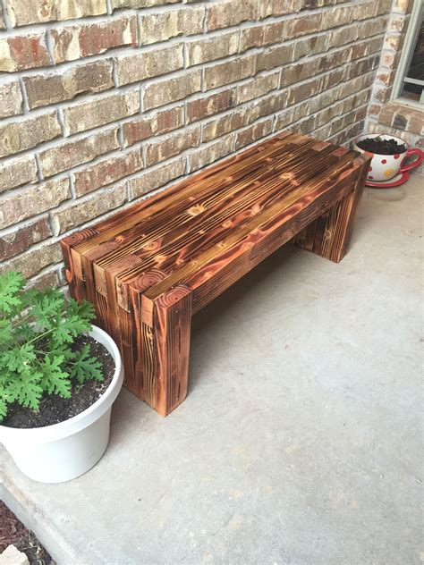 Wooden front porch bench Image