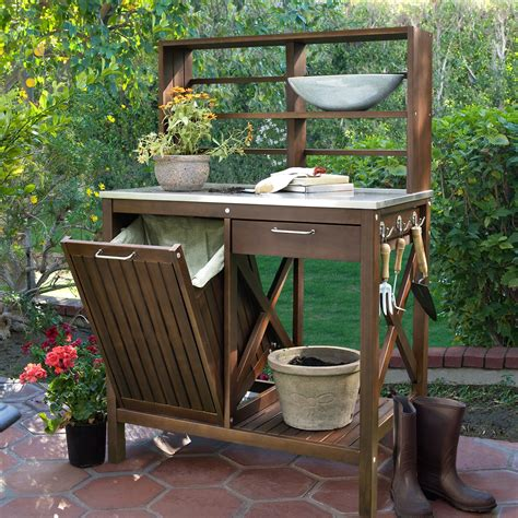 Wooden potting bench bins Image