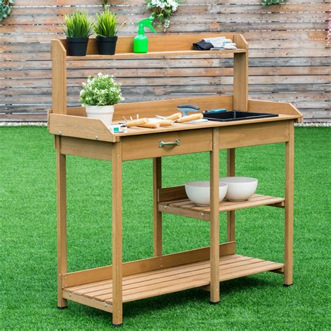 Wooden potting bench by leisure Image