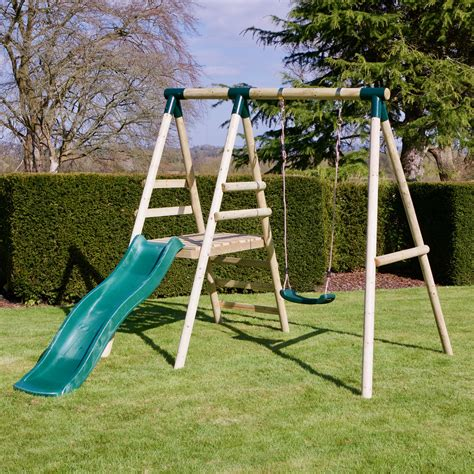 Wooden single swing and slide set Image