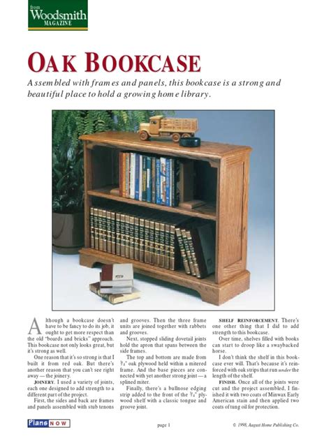 Woodsmith Magazine Bookcase Plans