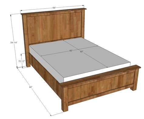 Woodwork Free Plans Queen Size Bed Frame Measurements