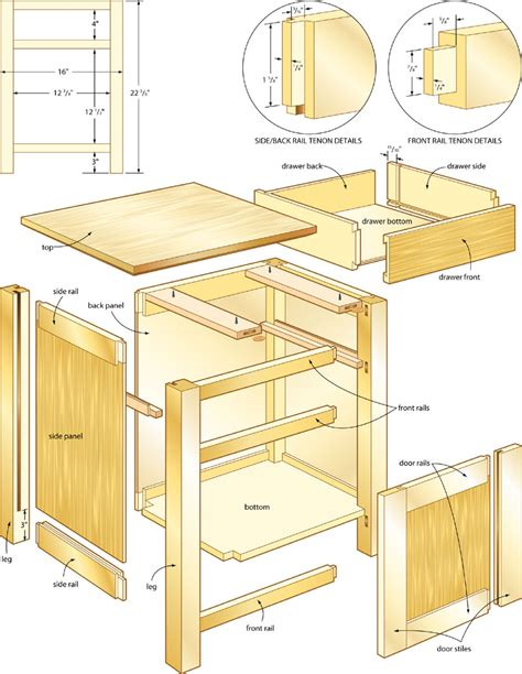 Woodwork Night Stand Plans Drawer