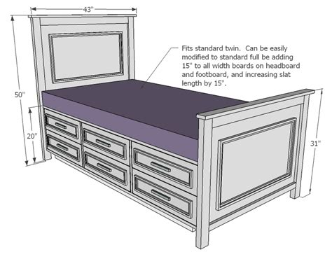Woodworking Plans For Twin Bed With Drawers