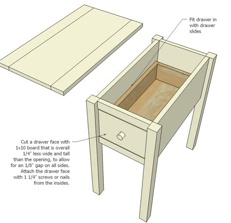 Woodworking-Plans-For-End-Table-With-Drawer