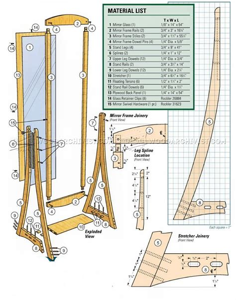 Woodworking-Standing-Mirror-Plans