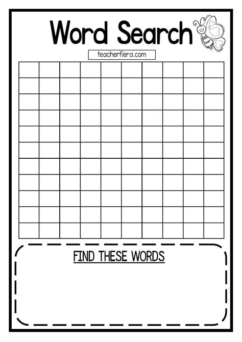 Word Search Templates Free Printable