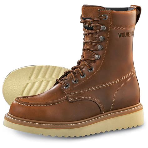 Work Boots 8' Men's Moc Toe Wedge Comfortable Leather Boot for Work and Construction