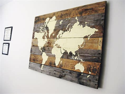 World Map On Wood Diy Santa Pallet