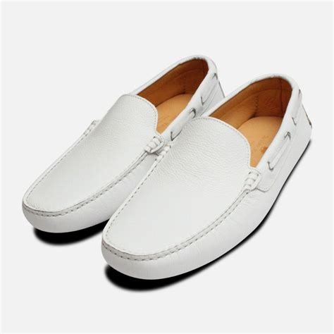 Wow White Mens Driving Shoes
