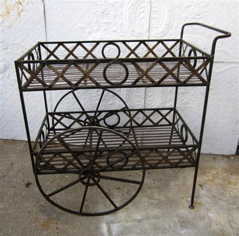 Wrought Iron Tea Cart Plant Stand
