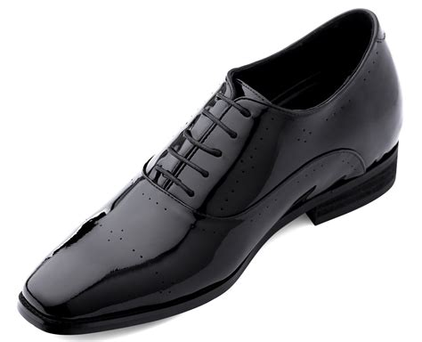 X02181-2.8 Inches Taller - Height Increasing Elevator Shoes-Black Patent Leather with Leather Sole