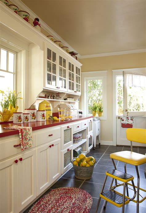 Yellow White And Red Kitchen Designs
