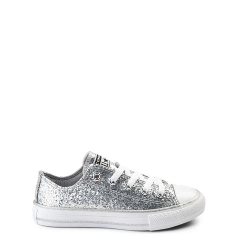 Youth Converse Chuck Taylor All Star Lo Glitter Sneaker Silver