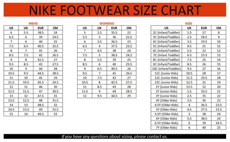 Youth Nike Sneakers Sizee Chart