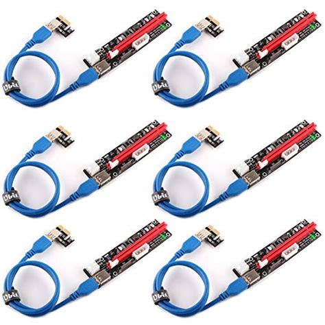 ZCash 6-Pack PCIe 16X to 1X Powered Riser Adapter Card with 6pin SATA Power Slot W/60cm USB 3.0 Extension Cable &MOLEX to SATA Power Cable for GPU Riser Adapter-Ethereum Mining ETH 6 Cable Ties