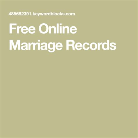 absolutely free marriage records