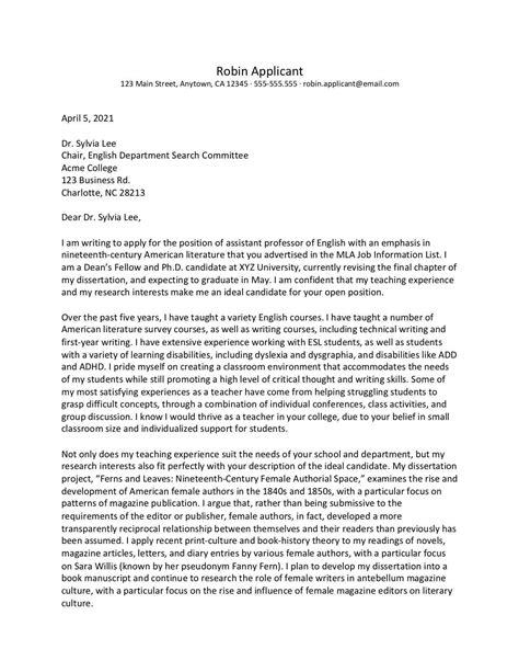 Academic Job Application Cover Letter Uk | Cv Template ...