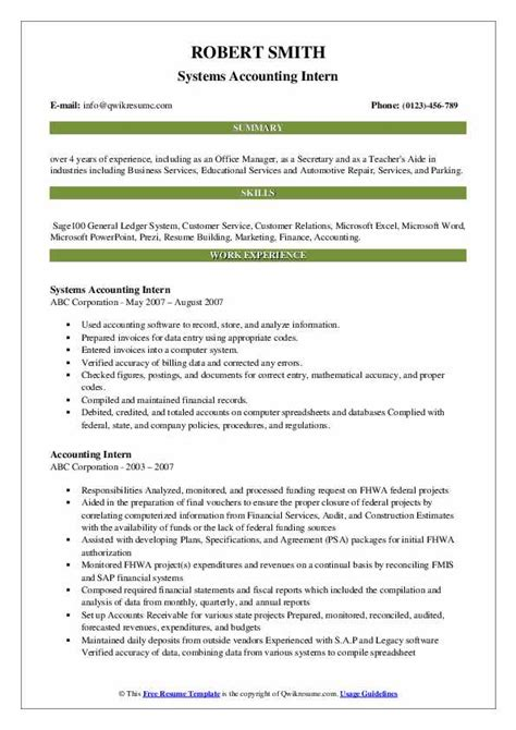 Accounting Intern Resume Template Resume Models In Word Format