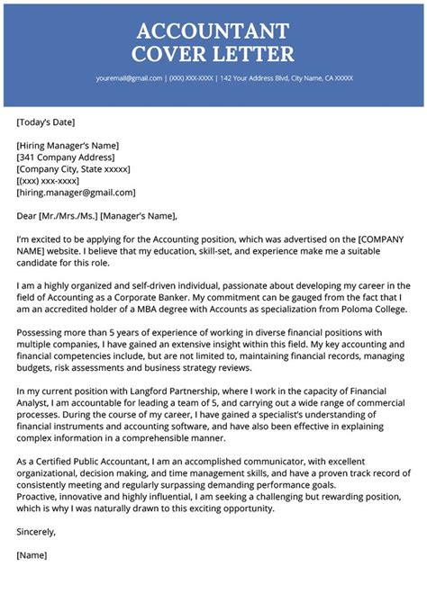 Accounting Job Cover Letter Sample