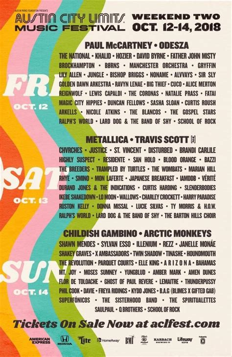 Acl Festival Lineup Weekend 2