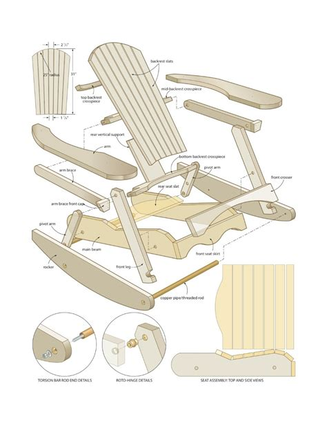 Adirondack rocking chair woodworking plans Image