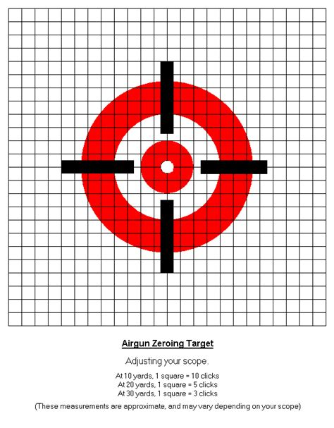 Air Rifle Scope Zeroing Target