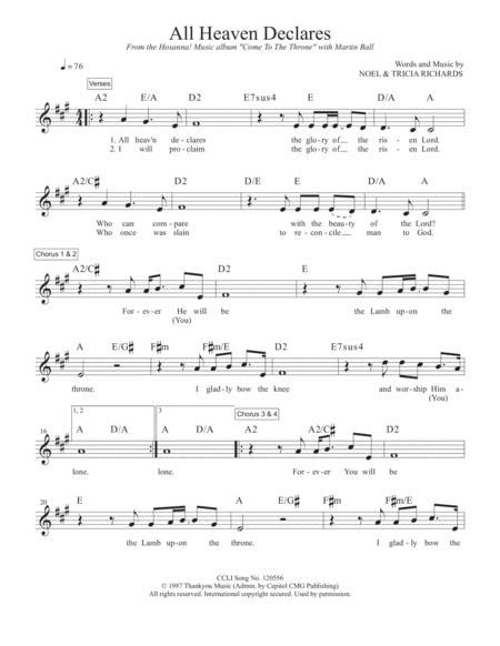 All Heaven Declares Piano Sheet Music Pdf