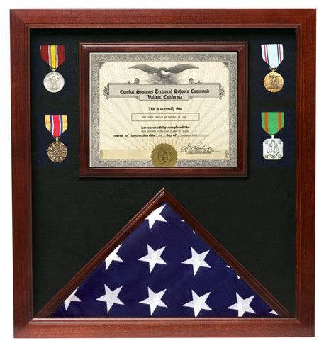 American flag display case with certificate holder Image