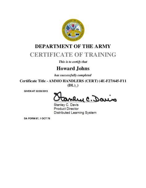 Ammo 45 Course Certificate
