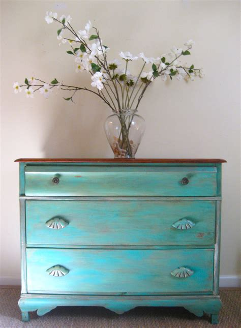 Antique turquoise furniture diy Image