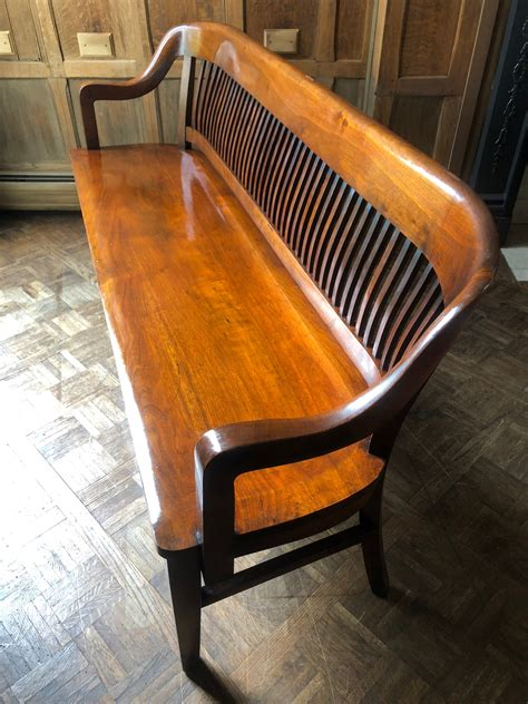 Antique Wooden Bench With Back Image