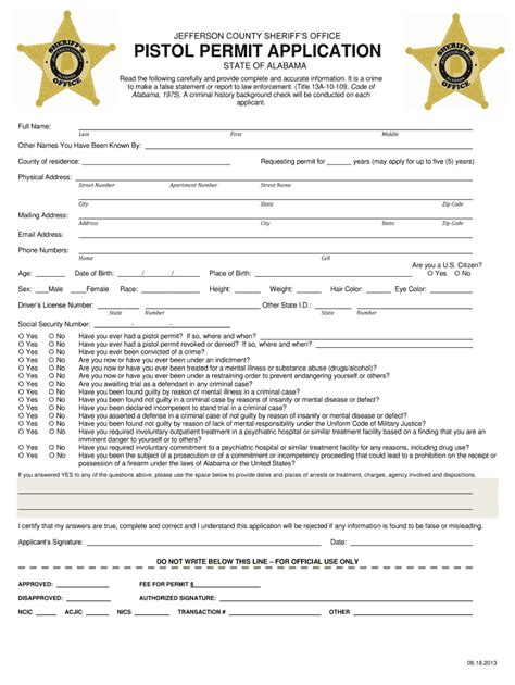 application for gun permit