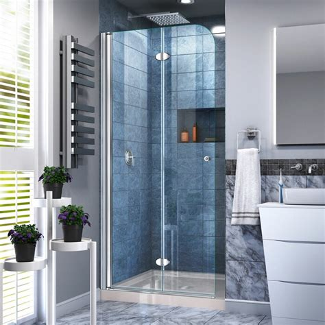 "Aqua Fold 33.5"" x 74.75"" Square Hinged Shower Enclosure with Base Included"