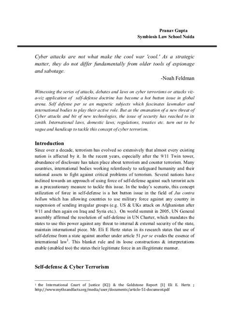 Arguments For War On Terrorism As Self Defense