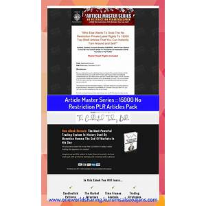 Article master series :: 15000 no restriction plr articles pack that works