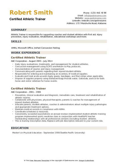 Athletic Trainer Resume Cover Letter | Free Brochure ...