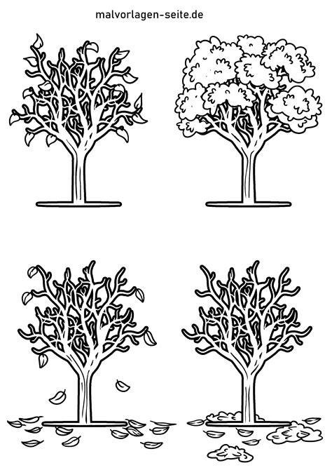 Ausmalbild Jahreszeiten Baum