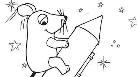 Ausmalbild Maus Rakete