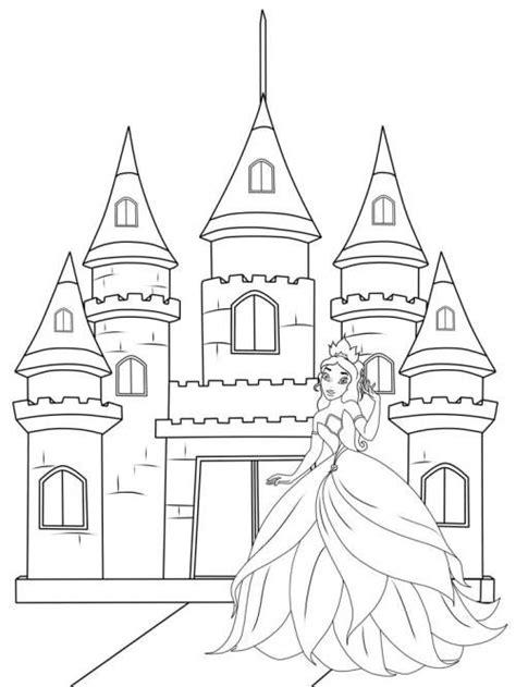 Ausmalbild Prinzessin Einhorn Schloss