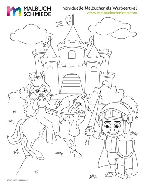 Ausmalbild Prinzessin Pferd Schloss