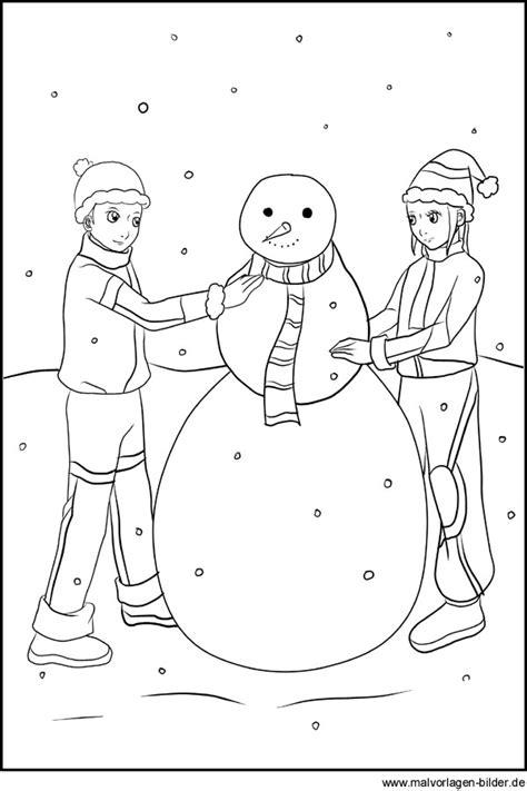 Ausmalbild Schneemann Bauen