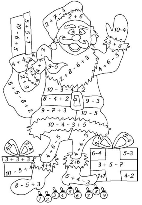 Ausmalbild Weihnachten Rechnen