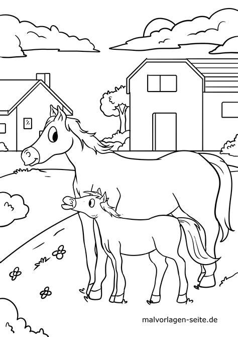 Ausmalbilder Bauernhof Pferde
