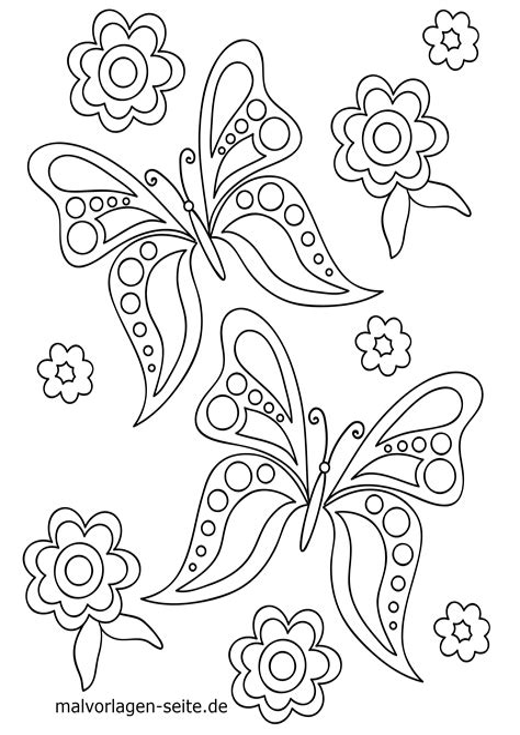 Ausmalbilder Blumen Schmetterlinge